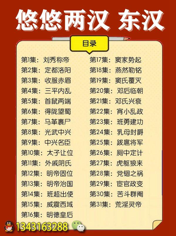 《悠悠两汉》节目表